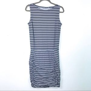 Athleta dress blue and white striped dress size s